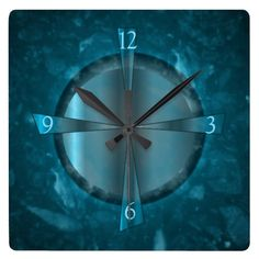 """Atmospheric Blue/Aqua Patterned >Wall Clock"""