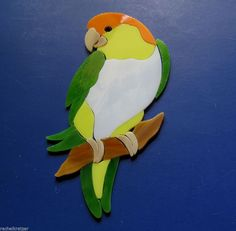 WHITE BELLIED CAIQUE PARROT Bird Precut Stained Glass Kit Mosaic Inlay . MANY ORIGINAL DESIGNS SELLING ON EBAY.