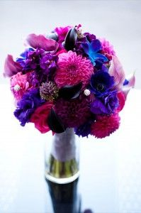 pink, purple, blue wedding bouquet.... Dahlias, callas, lisianthus, hydrangeas