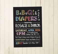 Baby Shower BBQ couples shower diaper bbq by RebeccaDesigns22, $13.00