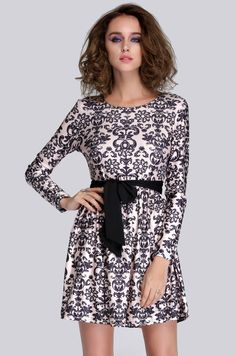 Printed black and white dress