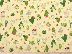バッグ、雑貨小物の制作に、サボテン柄コットンオックスプリント(キナリ)   110cm巾 綿100%   - そーいんぐ・すていしょんコミニカ