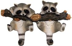 Amazon.com: Wowser Rustic Cast Resin Log Cabin Decor Hanging Raccoon Wall Hooks, 9 Inch: Home & Kitchen Wildlife Decor, Cabins In The Woods, Coat Hooks, Wall Hooks, Resin, Owl, Christmas Decorations, Super Cute, It Cast