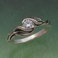 DELICATE LEAF RING Your Choice of Stone.  Ring in by BandScapes, $210.00