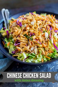 CHINESE CHICKEN SALAD: This restaurant-style recipe is perfect for lunch, dinner and potlucks. It's a recipe that can feed a crowd! For meal planning, this is a great DIY salad kit. dinner for a crowd Chinese Chicken Salad with Asian Dressing Salad Recipes For Dinner, Chicken Salad Recipes, Recipe Chicken, Asian Chicken Salads, Recipes For Canned Chicken, Asian Salads, Chinese Chicken Recipes, Keto Chicken, Asian Dressing