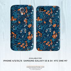 Blue blooms floral pattern with beetles phone case. Mothers day gift for iPhone 6 6 plus, iPhone 5 4 FP089