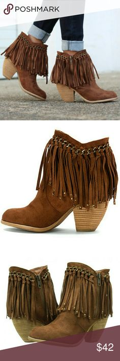 "FRINGE BOOTS- NIB Tan Fringe boots  Stacked heel & metallic hardware Shaft measures approximately 6 ""from the arch Heel measures 3"" Boot opening approximately 11"" around Zipper at the side Love these❤✌ Shoes Ankle Boots & Booties"