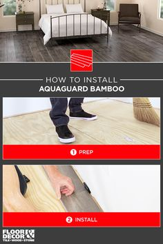 How to install water-resistant AquaGuard Bamboo from Floor & Decor - Flooring Piclodge Aquaguard Flooring, Linoleum Flooring, Bedroom Flooring, Kitchen Flooring, Floors, Installing Bamboo Flooring, Transition Flooring, 2x4 Wood, Playground Flooring