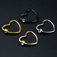 Showlove-2pcs Titanium Anodized CZ Gem Daith Heart Ear Helix Tragus Cartilage Piercing Lip Nose Rings Body Jewelry 16g