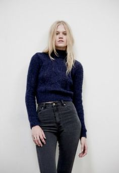 Vintage (90s)- Navy Cropped Turtleneck Sweater, High-waisted Dark-wash Jeans- My love for sweaters transcend all fashion periods