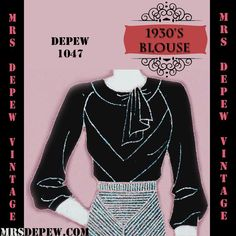 Vintage Sewing Pattern 1930's Blouse in Any Size Depew by Mrsdepew
