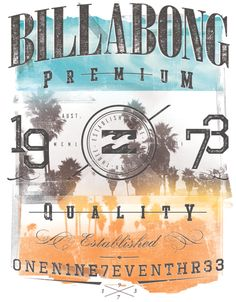 Various mens tee prints for Billabong mens core consumers.