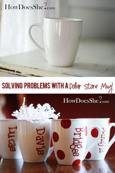Dollar Store Mug Transformed - perfect for when the weather chills & it's time for some hot cocoa... maybe use permanent marker method instead of permanent vinyl, though, to save a little money.