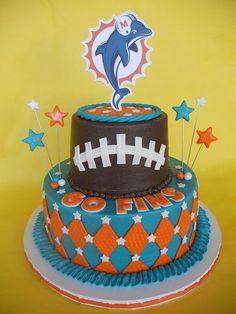 Miami Dolphins Party Cake by http://CakesUniqueByAmy.com, via Flickr