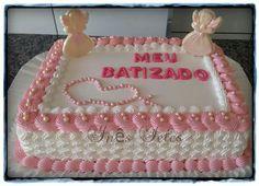 Bautizo Pastel Rectangular, Baby Girl Christening Cake, Bolo Barbie, My Birthday Cake, Communion Cakes, Love Cupcakes, Square Cakes, Occasion Cakes, Girl Cakes