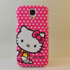 Pink Bow White Dot hello kitty hard Cover case skin For Samsung Galaxy S4 i9500