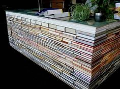 Counter made of books....can't imagine how long this took to make and fit all the books together!!
