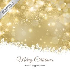 Golden christmas bokeh background with white leaves Free Vector