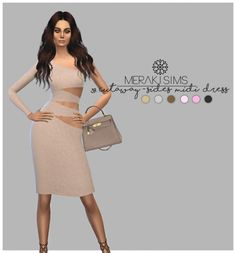Cutaway-sides midi dress at Merakisims via Sims 4 Updates