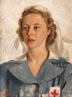 Portrait of Private Gwynneth Patterson, Australian Army Medical Women's Service (AAMWS), Australian Blood and Serum Preparations Unit. by Nora Heysen. Australian Painters, Australian Artists, Nurse Art, Nz Art, Oil Portrait, Painting Portraits, Call Art, Classic Paintings, Art Station