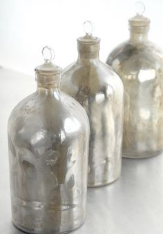 vintage mercury glass bottles