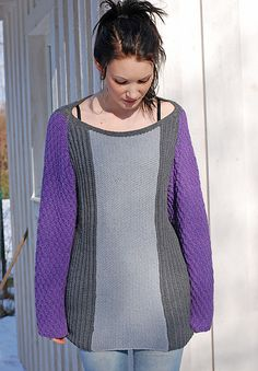 Ravelry: Seed Sweater pattern by Linda Marveng Inspired by Balenciaga's asymmetrical colour blocking tunics I have designed an oversized sweater with a cowl in shades of grey with a beautiful lilac as contrast. Three different stitch patterns from the same family complete the look. The Seed sweater and cowl is knitted in Amoretto, a lovely soft and warm mixture of alpaca and cotton with a stunning stitch definition.