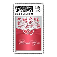 Coral Pink, Gray Floral Hearts Thank You Postage