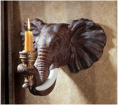 "Set of 2 12 5"" Exotic African Elephant Sculpture Candle Holder Wall $100"