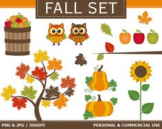 BUY 2 GET 1 FREE! Digital Fall Clip Art Autumn, Fall, Leaves, Tree, Pumpkins, Apples, Owls Clip Art. Commercial and Personal use,