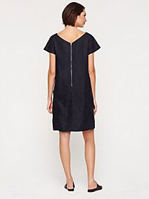 Bateau Neck Cap-Sleeve Shift Dress in Heavy Linen | EF