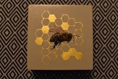 Golden Honeycomb Bee, Vanessa Foley, Oil Painting on Wood, 2017 Art Google, Honeycomb, Painting On Wood, Bee, Google Search, Honey Bees, Honeycombs, Bees, Honeycomb Pattern