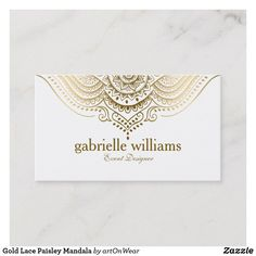 Shop Gold Lace Paisley Mandala Business Card created by artOnWear. Paisley Wedding, Referral Cards, Create Your Own Business, Bussiness Card, Geometric Circle, Elegant Business Cards, Gold Lace, White Lace, Standard Business Card Size