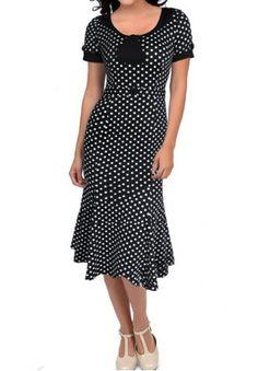 Vintage Scoop Neck Short Sleeve Polka Dot Women's Fishtail Mermaid Dress