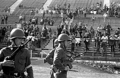 Coup in Chile, 1973 Stadium at Santiago -Allende & 3000 other civilians tortured and killed by Pinochet supported by CIA. Victor Jara, Military Coup, Football Pitch, National Stadium, English Translation, Cold War, Old Pictures, Riding Helmets, Photos
