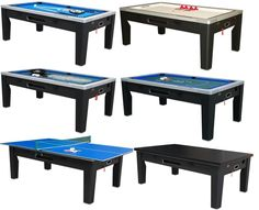 6 in 1 COMBO GAME TABLE ~POOL~AIR HOCKEY~PING PONG~ROULETTE~POKER~DINING ~ BLACK