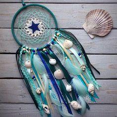Dream catcher Dreamcatcher Sea dreamcatcher Blue green dreamcatcher Crochet dreamcatcher Wall hanging Seashells dreamcatcher Nursery decor