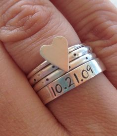Sterling silver HEART, POLKA DOT and custom personalized anniversary love date stacking ring set handmade committed jewelry etsy by CommittedJewelry on Etsy https://www.etsy.com/listing/152468098/sterling-silver-heart-polka-dot-and