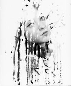 Timothy Pakron inspired portraits using developer on a brush