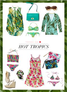 Bermuda. Bahama. Amazon pretty mama. We love this trend so much, our designers covered it in everything from clutches to snapbacks..own it now: button down tank. green bikini. sunnies. fruit salad bikini. wedges. snapback. dress. white clutch. black clutch. pink bikini. shop green bag and cardigan in store.