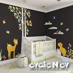 Children Wall Sticker Wall Decal For Nursery - Bear with Bambi Baby Deer, Squirrels and Birds - PLWD030. $100.00, via Etsy.