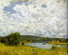 The Seine at Suresnes Artist: Alfred Sisley Completion Date: 1877 Style: Impressionism Genre: landscape Technique: oil Material: canvas Dimensions: 60 x 73 cm Tags: rivers-and-waterfalls