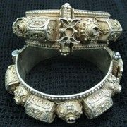 These very intricate tomb (qubur) bracelets were made in Sana'a, Yemen by a Jewish silversmith, and worn by Jewish women.