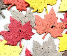He encontrado este interesante anuncio de Etsy en https://www.etsy.com/es/listing/83958066/10-fall-plantable-seed-paper-leaves-diy