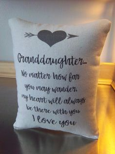 Granddaughter pillow gift for granddaughter by SweetMeadowDesigns