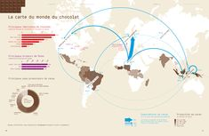 The World Map of Cacao by LargeNetwork Infographics , via Behance Make An Infographic, Infographics, Map Diagram, Cacao Chocolate, Confectionery, Cocoa, World, Behance, Illustration