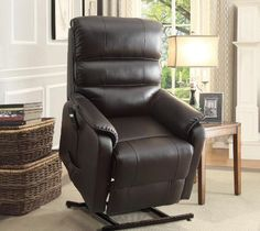 Homelegance Power Lift Recliner Chair, Dark Brown Bonded Leather Creating a platform for your mobility is the Kellen Collection. The dark brown bonded Lift Recliners, Leather Recliner, Room Chairs, Recliner Chairs, Interior Walls, Living Room Furniture, Home Furnishings, House Design, Bonded Leather