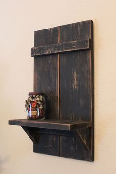 "Handmade Distressed Primitive Wall Shelf, Black, 20"" x 11"" x 6"""