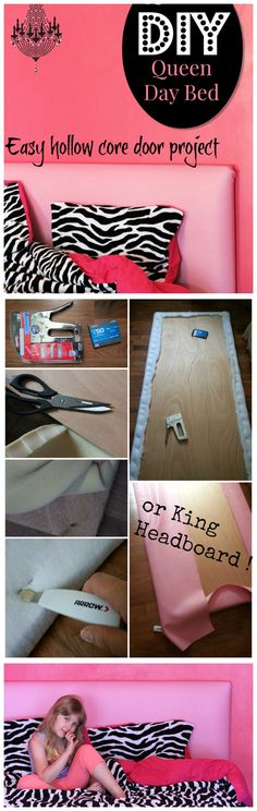 Easy DIY Headboard from Hollow Core Door (vinyl upholstery for easy cleaning)