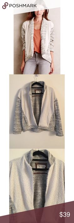 Anthropologie open jacket Anthropologie Saturday Sunday Molleux open grey collared sweater/jacket size small. 100% polyester. Sweater material and shearling. Very warm. Oversized and unused condition! Anthropologie Jackets & Coats