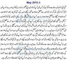 Aquariu Monthly Horoscope in Urdu May 2015